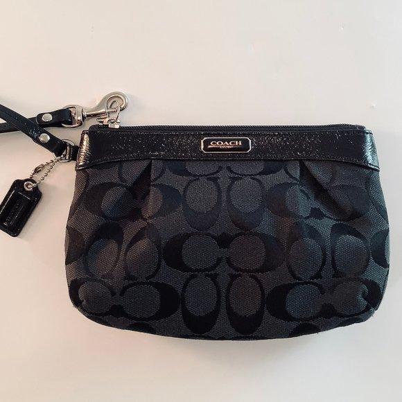 Coach Handbags - COACH Signature Wristlet, Patent Leather Trim